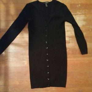 Black ribbed long cardigan dress